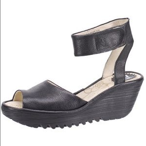 Fly London Black Yula Leather Ankle Strap Wedge Sandals Sz 38